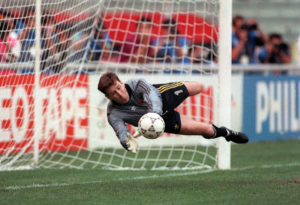 World Cup Republic of Ireland vs Romania 1990 Packie Bonner saves a penalty in the shoot out Mandatory Credit ©INPHO/Billy Stickland