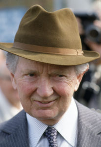 Sport, Horse Racing, Newmarket Spring Meeting, pic: 4th May 1984, Vincent O'Brien, Irish race horse trainer, one of the great trainers, who won 3 Grand Nationals at Aintree and 5 English Derbys at Epsom  (Photo by Bob Thomas/Getty Images)