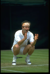 30 JUN 1991:  JOHN MCENROE OF THE UNITED STATES ARGUES WITH THE UMPIRE OVER A CALL OF OUT DURING THE 1991 WIMBLEDON CHAMPIONSHIPS.