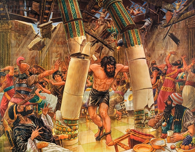 Image result for samson pulling down the pillars